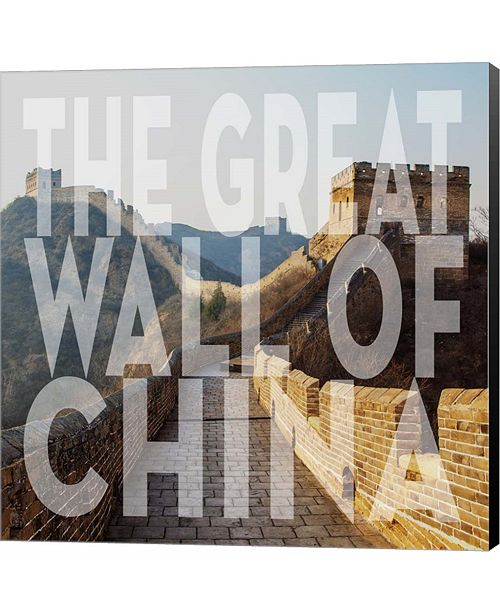 Metaverse Vintage The Great Wall of China, Asia, Large Center Text by Take Me Away Canvas Art