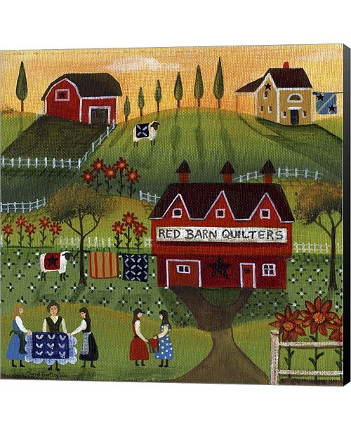 Metaverse Red Barn Quilters by Dianne Loumer Canvas Art