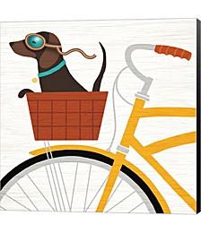 Beach Bums Dachshund Bicycle I by Michael Mullan Canvas Art
