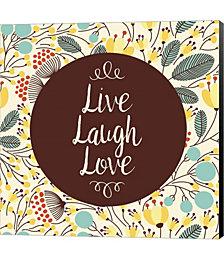 Live Laugh Love Retro Floral White by Color Me Happy Canvas Art