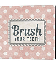 Brush Your Teeth Pink Pattern by Color Me Happy Canvas Art