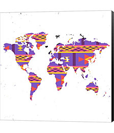 World Map Tribal by Ramona Murdock Canvas Art