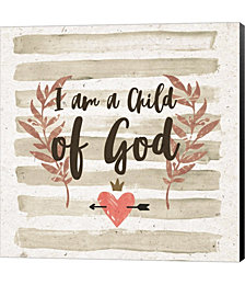 I am a Child of God Gray Stripes by Color Me Happy Canvas Art