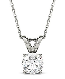 Moissanite Solitaire Pendant (1-9/10 ct. t.w. Diamond Equivalent) in 14k White Gold