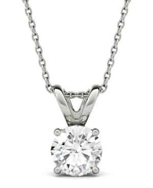 Moissanite Solitaire Pendant (1-9/10 ct. t.w. Diamond Equivalent) in 14k White Gold or 14k Yellow Gold