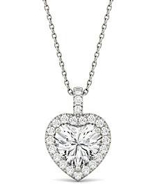 Moissanite Heart Halo Pendant (2-1/8 ct. tw. Diamond Equivalent) in 14k White Gold