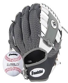 """9.5"""" Teeball Meshtek Glove & Ball Set Black/White/Grey-Left Handed"""
