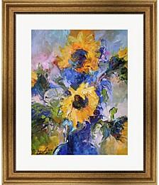 Sunflowers In Blue V by Richard Wallich Framed Art