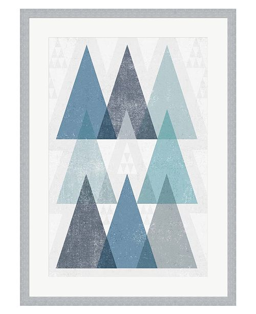Metaverse Mod Triangles IV Blu by Michael Mullan Framed Art
