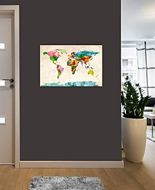 "iCanvas ""World Map Watercolors III"" by Michael Tompsett Gallery-Wrapped Canvas Print"