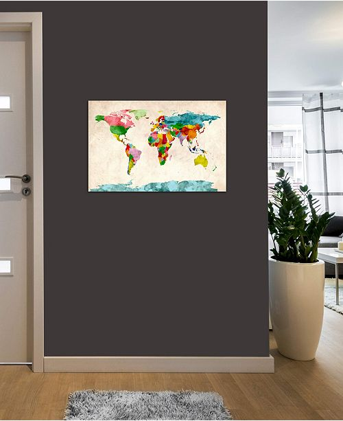 """iCanvas """"World Map Watercolors III"""" by Michael Tompsett Gallery-Wrapped Canvas Print"""