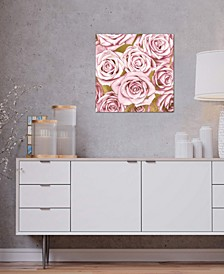 """""""Pink Roses On Gold"""" by Kate Bennett Gallery-Wrapped Canvas Print"""