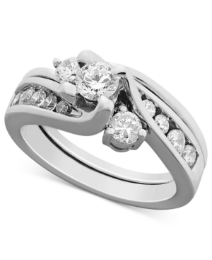 Certified Diamond Engagement Ring Bridal Set in 14k White Gold (1 ct. t.w.)