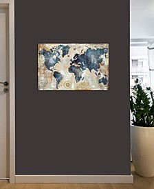"""World Map Indigo"" by Xander Blue Gallery-Wrapped Canvas Print (18 x 26 x 0.75)"
