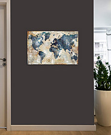 "iCanvas ""World Map Indigo"" by Xander Blue Gallery-Wrapped Canvas Print (18 x 26 x 0.75)"
