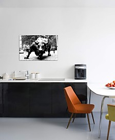 "iCanvas ""Wall Street Bull Black & White"" Gallery-Wrapped Canvas Print (26 x 40 x 0.75)"