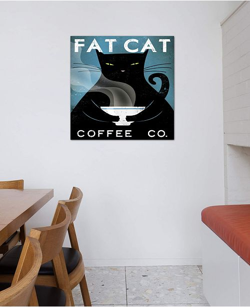 """iCanvas """"Fat Cat Coffee Co."""" by Ryan Fowler Gallery-Wrapped Canvas Print (26 x 26 x 0.75)"""