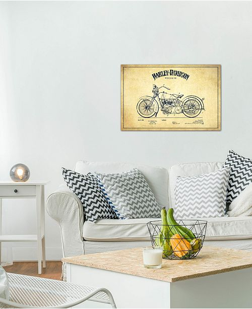 """iCanvas """"Harley-Davidson Vintage Patent Blueprint"""" by Aged Pixel Gallery-Wrapped Canvas Print (18 x 26 x 0.75)"""