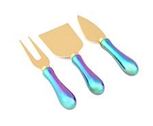 4 Piece Rainbow Iridescent Cheese Knife Set