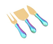 CLOSEOUT! Thirstystone  4 Piece Rainbow Iridescent Cheese Knife Set