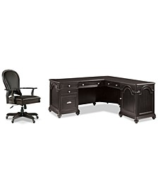 Clinton Hill Ebony Home Office, 2-Pc. Set (L-Shaped Desk & Leather Desk Chair)