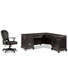 Clinton Hill Ebony Home Office, 2-Pc. Set (L-Shaped Desk & Leather Desk Chair), Created for Macy's