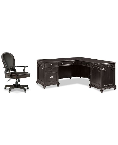 Furniture Clinton Hill Ebony Home Office, 2-Pc. Set (L-Shaped Desk & Leather Desk Chair), Created for Macy's