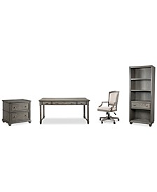 Sloane Home Office, 4-Pc. Set (Writing Desk, Lateral File Cabinet, Open Bookcase & Upholstered Desk Chair), Created for Macy's