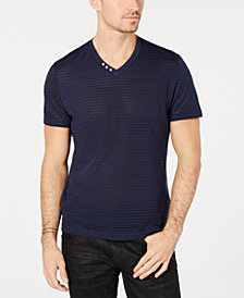 I.N.C. Men's V-Neck Sheer Striped T-Shirt, Created for Macy's