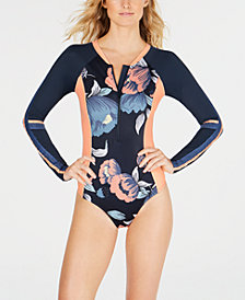 Roxy Floral Long-Sleeve One-Piece Swimsuit