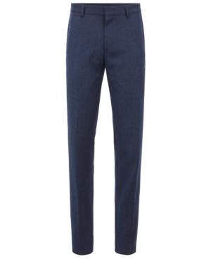 Hugo Boss Gains Flannel Slim Fit Washable/travel Dress Pants In Dark Blue