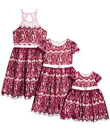 Rare Editions Baby, Toddler, Little & Big Girls Sister  Lace Fit & Flare Dresses