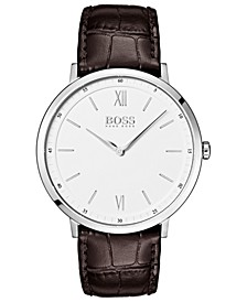 Hugo Boss Men's Essential Ultra Slim Brown Leather Strap Watch 40mm