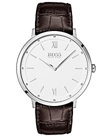 BOSS Hugo Boss Men's Essential Ultra Slim Brown Leather Strap Watch 40mm