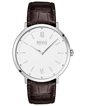 Boss Hugo Boss Men's Essential Ultra Slim Brown Leather Strap Watch 40mm