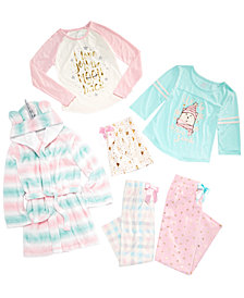 Max & Olivia Big Girls Unicorn Robe, Pajama Tops & Bottoms, Created for Macy's