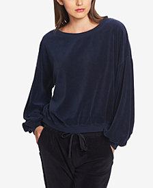 1.STATE Balloon-Sleeve Velvet Sweatshirt