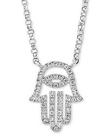 "EFFY® Diamond Hamsa Hand 18"" Pendant Necklace (1/6 ct. t.w.) in 14k White Gold"