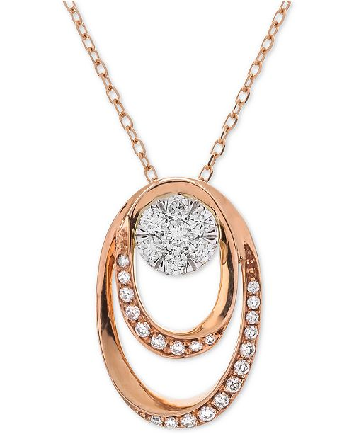 Macy's Diamond Double Oval Cluster Adjustable Pendant Necklace (1/4 ct. t.w.) in 14k Rose & White Gold