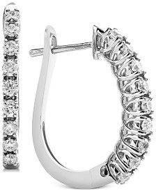 Diamond Huggie Hoop Earrings (1/2 ct. t.w.) in 14k White Gold