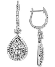 Diamond Teardrop Halo Cluster Drop Earrings (1-1/2 ct. t.w.) in 14k White Gold