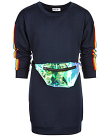 Beautees Big Girls 2-Pc. Rainbow Stripe Sweatshirt Dress & Fanny Pack Set