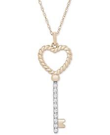 "Diamond Heart Key 18"" Pendant Necklace (1/10 ct. t.w.) in 14k Gold"