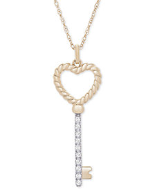 "Diamond Heart Key 18"" Pendant Necklace (1/10 ct. t.w.) in 14k Gold"