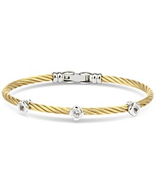 White Topaz Cable Bangle Bracelet (5/8 ct. t.w.) in Sterling Silver & Gold-Tone PVD Stainless Steel