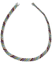"Multi-Gemstone 18"" Collar Necklace (60 ct.t.w.) in Sterling Silver"