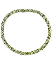 "Peridot 18"" Collar Necklace (60 ct. t.w.) in Sterling Silver"