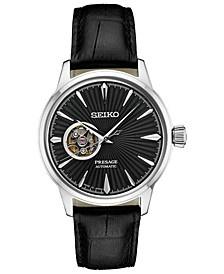 Men's Automatic Presage Black Leather Strap Watch 40.5mm