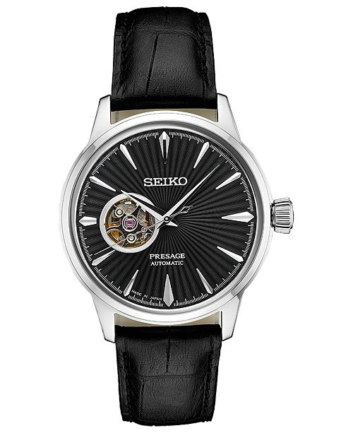 0b7865c4b62 ... Seiko Men s Automatic Presage Black Leather Strap Watch 40.5 ...