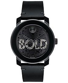 Men's Swiss BOLD Black Leather Strap Watch 42mm